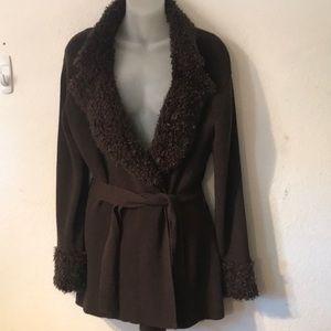 MAX STUDIO brown cardigan sweater coat size LARGE
